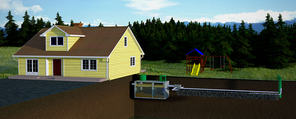 House with gravity septic system