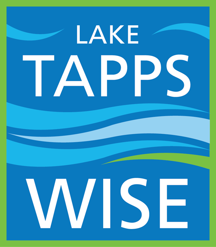 "TappsWise Logo: ""Lake Tapps Wise"" in white on blue background with wavy pattern."