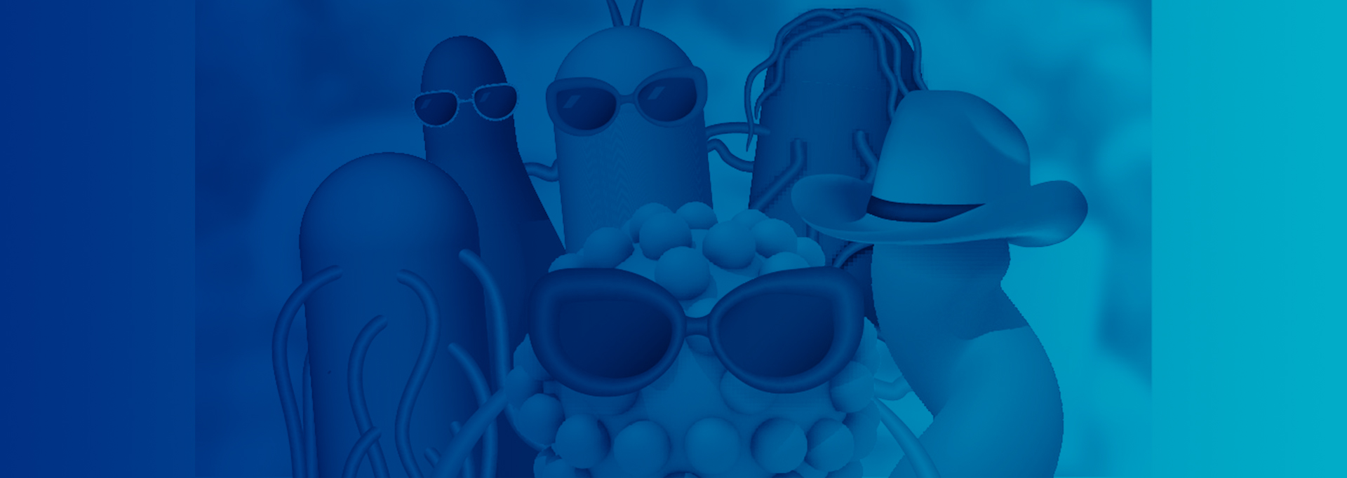 A group photo of anthropomorphized foodborne pathogens: E. coli, norovirus, Salmonella, Clostridium, and Campylobacter
