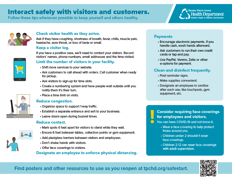 COVID19 Reopening guidance for Visitors and customers