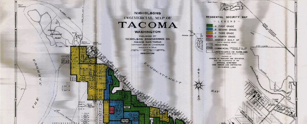 1937 map of Redline Districts in Tacoma