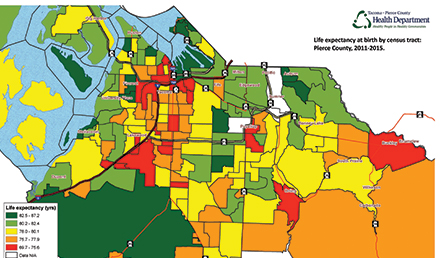 A map that shows the life expectancy by zip code in Pierce County