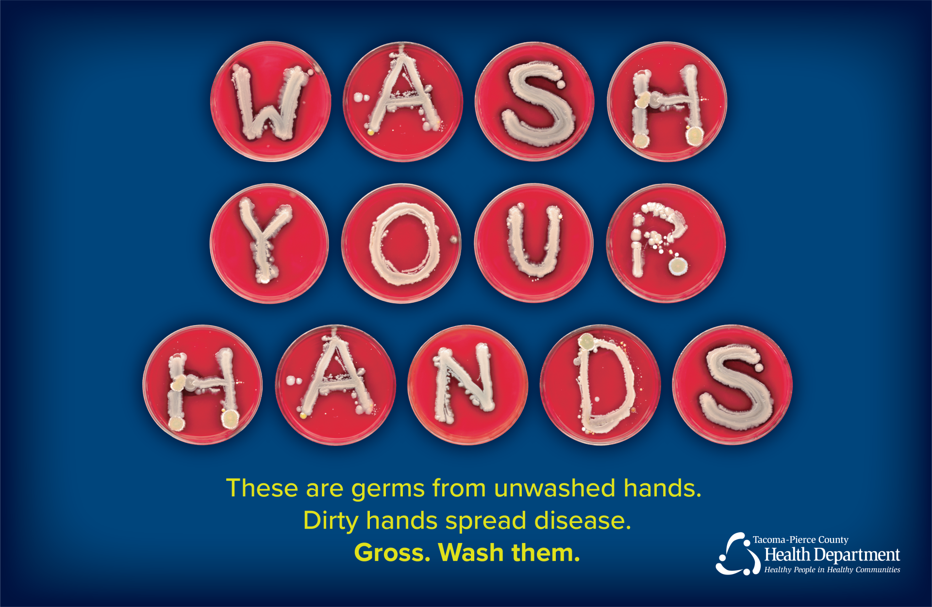 'Wash Your Hands' spelled out in bacteria colonies on individual petri dishes. Text beneath reads: These are germs from unwashed hands. Dirty hands spread disease. Gross. Wash them.'