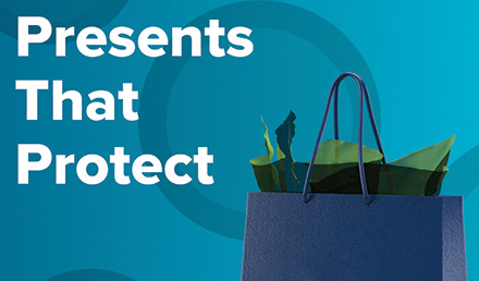 Presents That Protect text with a holiday shopping bag