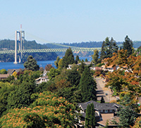 View of Tacoma Narrows Bridge from a neighborhood in University Place