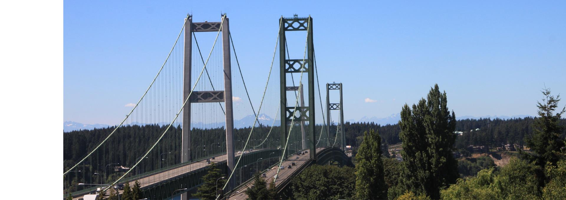The Tacoma Narrows Bridge viewed from University Place