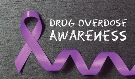 A purple ribbon that signifies drug overdose awareness