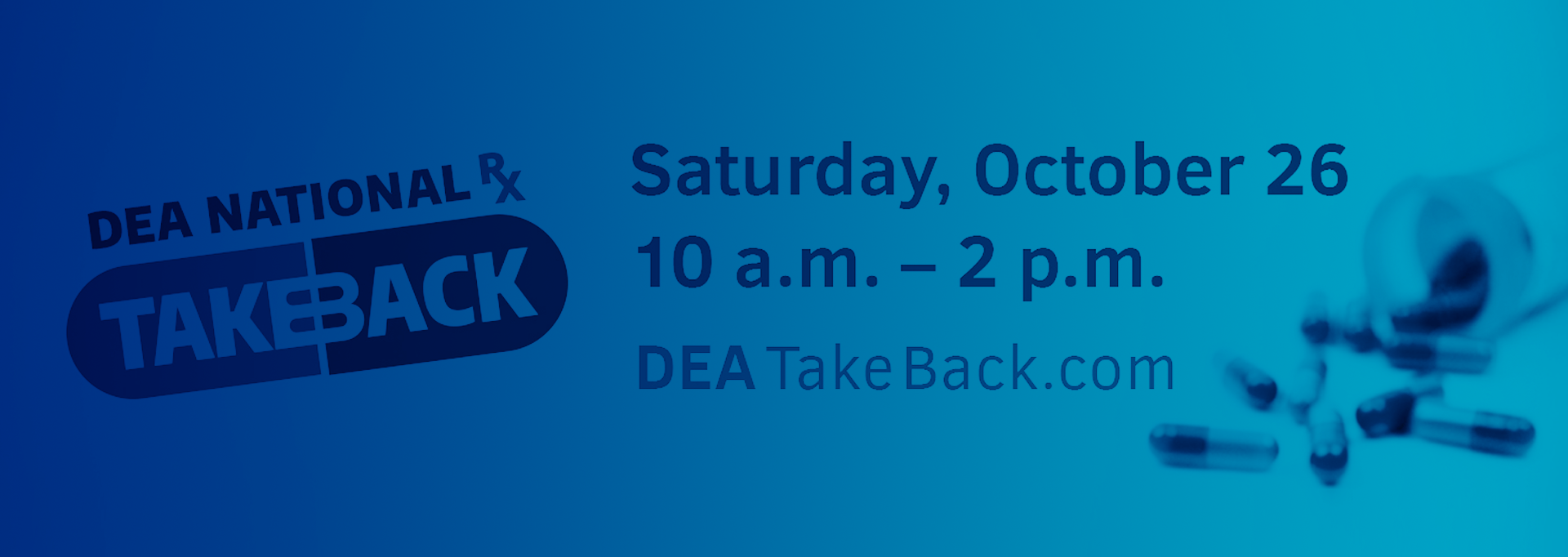 DEA national prescription takeback, Saturday, Oct. 26 from 10 a.m. until 2 p.m., DEATakeBack.com