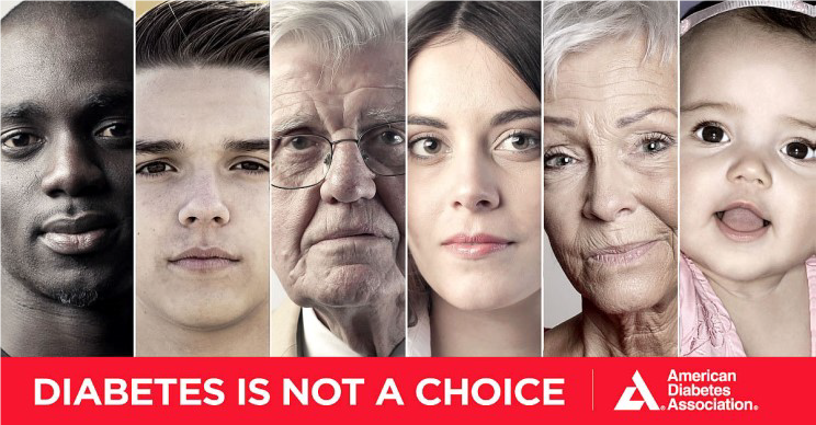 The faces of six people of differing ages, genders and ethnicities and the words Diabetes is not a choice