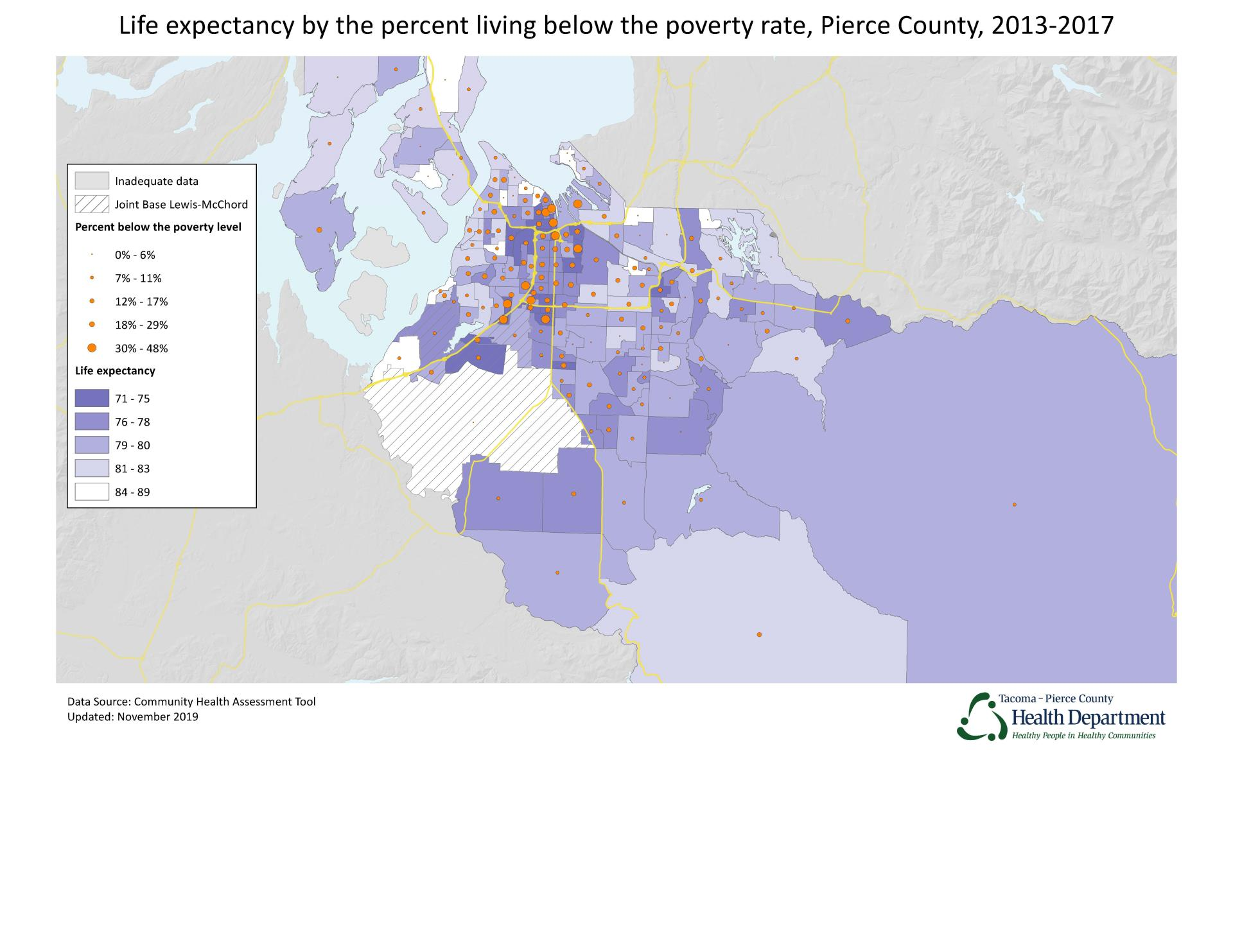A map displaying life expectancy by the percent living below the poverty rate in Pierce County from 2013-2017