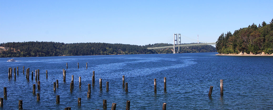 Titlow beach and Narrows bridge, Puget Sound Washington..