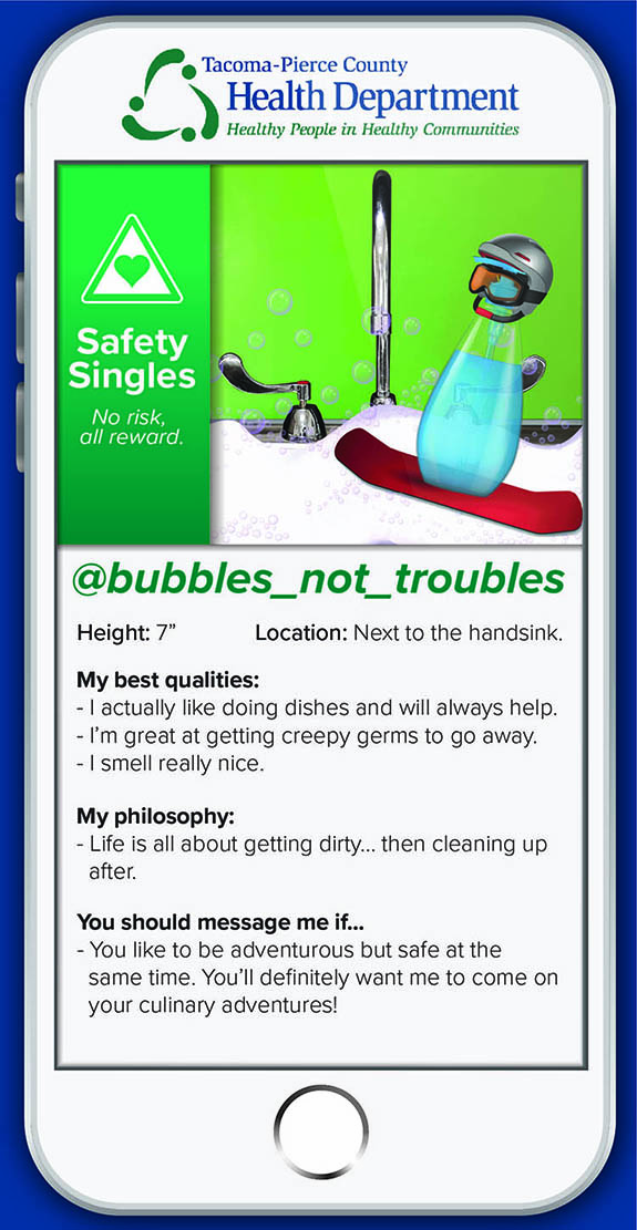 bubbles_not_troubles I actually like doing dishes and will always help. I make creepy germs go away. I smell nice. Life is all about getting dirty then cleaning up after.  Message me if: You like to be adventurous but safe at the same time. You'll want me to come along on your culinary adventures!