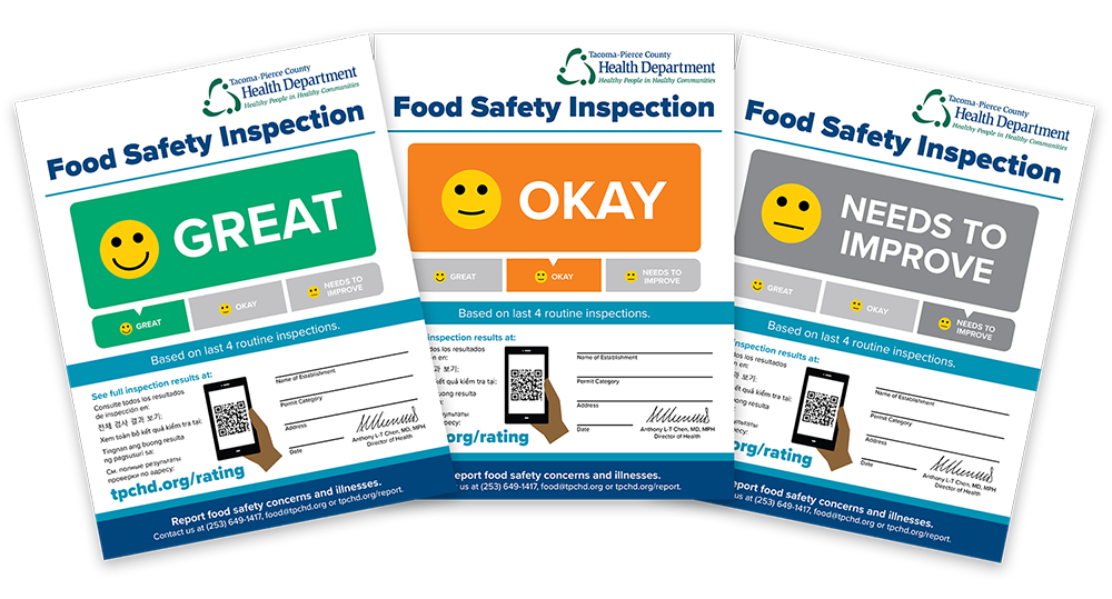Food safety inspection rating sign set with emojis.